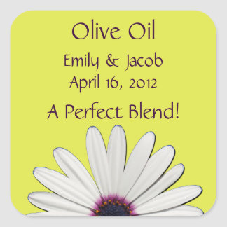 Yellow Daisy Olive Oil Personalized Favor Labels Square Sticker