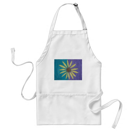 Yellow Daisy on a Blue and Green Field Apron