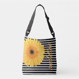Yellow Daisy on B&W stripes personalize w Name Crossbody Bag