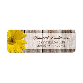 Yellow Daisy Rustic Barn Wood Address Labels