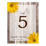 Yellow Daisy Rustic Barn Wood Wedding Table Number Postcards