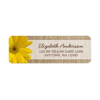 Yellow Daisy Rustic Burlap Address Return Address Label