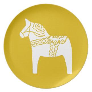 Yellow Dala Horse Plate
