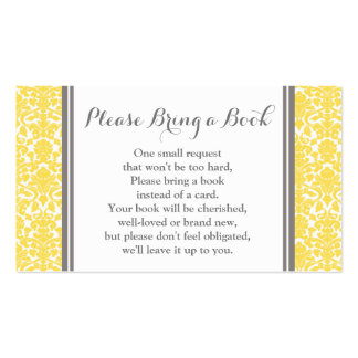 Yellow Damask Baby Shower Book Request Card Pack Of Standard Business Cards