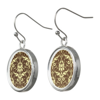Yellow Damask Brown Background Drop Earrings