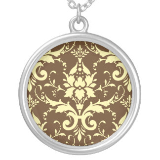 Yellow Damask Brown Background Round Necklace