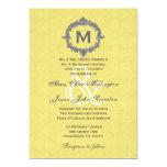 Yellow Damask Grey Frame Monogram Wedding V01 Custom Invitations