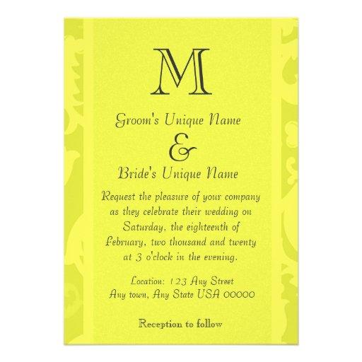 Yellow Damask Monogram Wedding Personalized Announcements