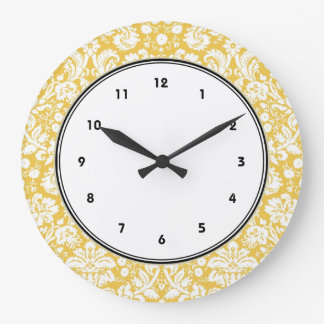 Yellow damask pattern large clock
