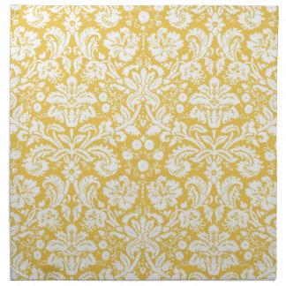 Yellow damask pattern napkin