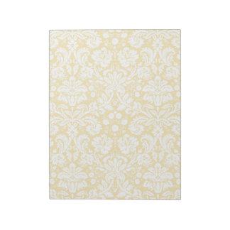 Yellow damask pattern notepad