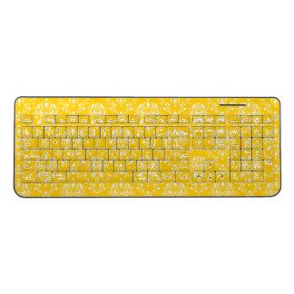 Yellow Damask Pattern Wireless Keyboard