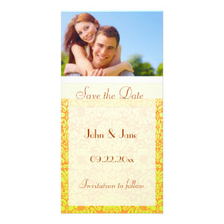 """Yellow Damask/photo  """"Save the Date"""" Personalised Photo Card"""