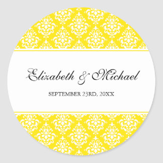 Yellow Damask Round Wedding Favor Label Stickers