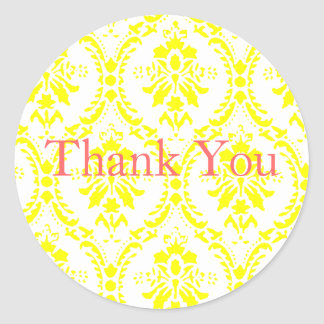 Yellow  Damask Thank You Round Sticker