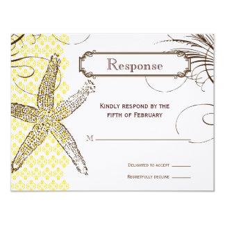 Yellow Damask Tropical Wedding Response Card 11 Cm X 14 Cm Invitation Card