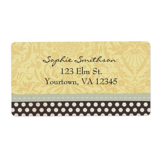 Yellow  Damask with Black and White Polka Dots Shipping Label