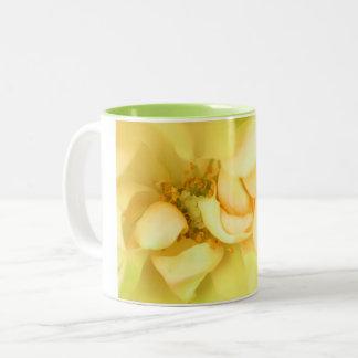 Yellow dancing rose petals Two-Tone coffee mug