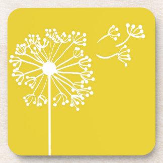 Yellow Dandelion Design Coaster