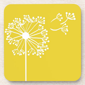 Yellow Dandelion Design Drink Coasters