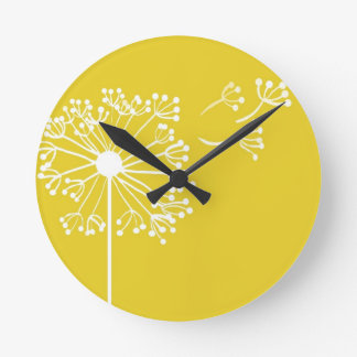 Yellow Dandelion Design Round Clock