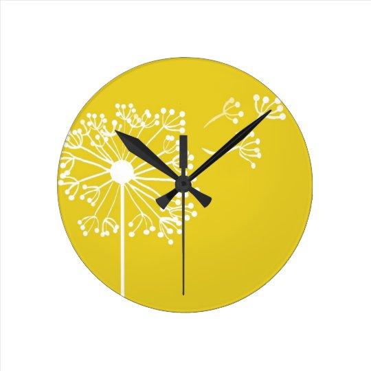 Yellow Dandelion Design Round Clock