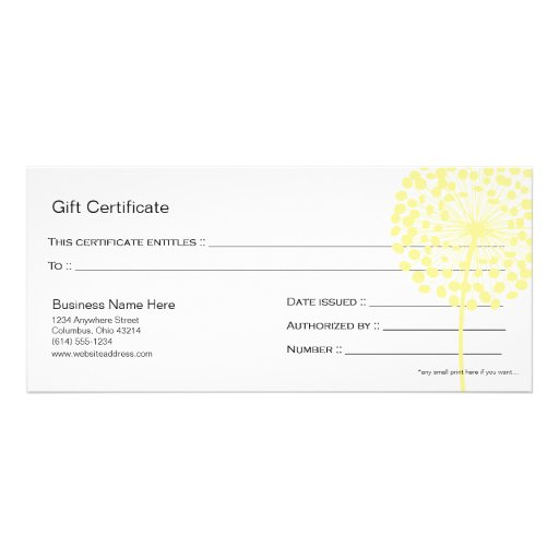 Yellow Dandelion Flower Gift Certificate Design 4 Rack Card