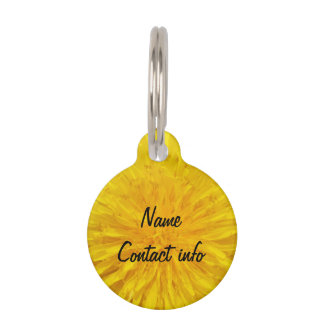 Yellow Dandelion Flower Photo Dot 0560 Pet Tag