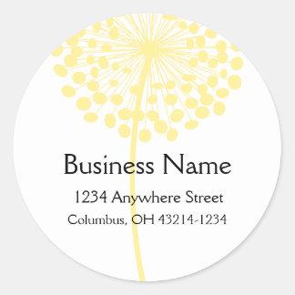 Yellow Dandelion Flower Round Address Labels