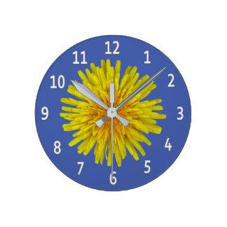 Yellow Dandelion Flower White Digits on any Color Wallclocks