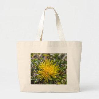 yellow dandelion large tote bag