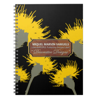 Yellow Dandelion Night Decorative Modern Notebook