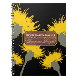Yellow Dandelion Night Decorative Modern Notebook