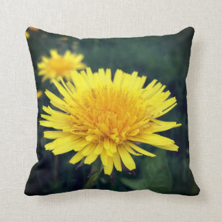 Yellow Dandelion Throw Pillow, Green Background Cushion