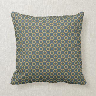Yellow Dark Green Circular Polka Dots Throw Pillow