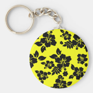 Yellow Dark Hawaiian Basic Round Button Key Ring