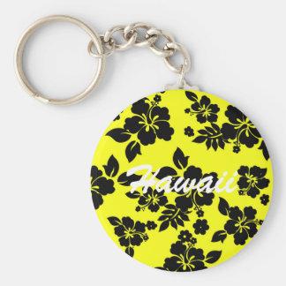 Yellow Dark Hawaiian Basic Round Button Key Ring