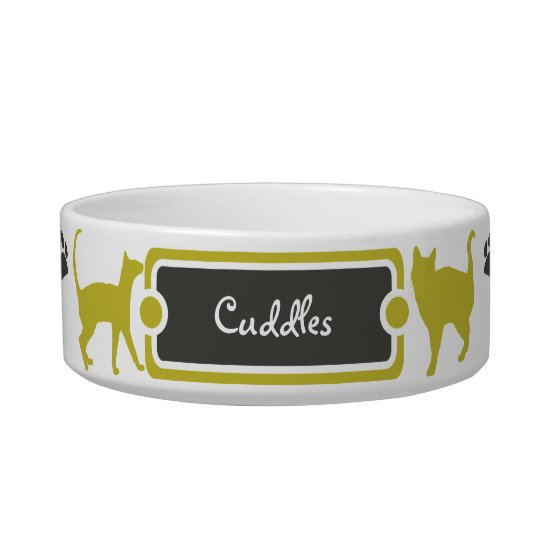 Yellow & Dark Paw Print Kitty Cat Pet Bowl