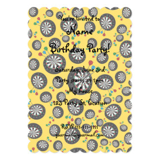 "Yellow dartboard pattern 5"" x 7"" invitation card"