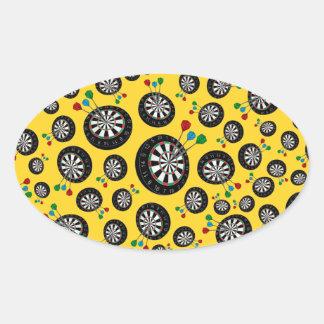Yellow dartboard pattern oval stickers