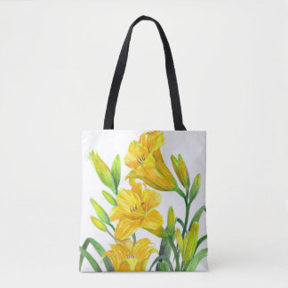 Yellow Day Lillies Botanical Illustration Tote Bag