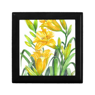 Yellow Day Lillies Small Square Gift Box