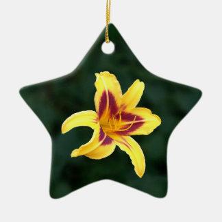 Yellow Daylily Flower with Red, Hemerocallis: Christmas Ornament