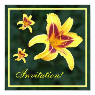 Yellow Daylily Flower with Red, Hemerocallis: Invitations