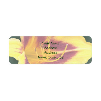 Yellow Daylily Flower with Red, Hemerocallis: Return Address Label