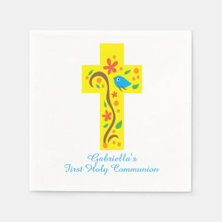 Yellow Decorative Cross With Bird Communion Napkin Paper Napkins