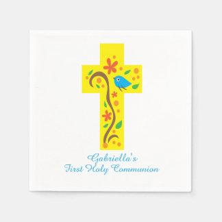 Yellow Decorative Cross With Bird Communion Napkin Paper Napkins