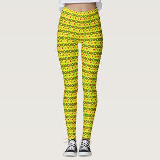 Yellow Decorative geometric pattern Leggings