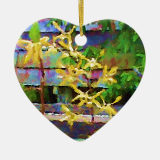 Yellow Dendrobium Orchid Watercolor Heart Ornament