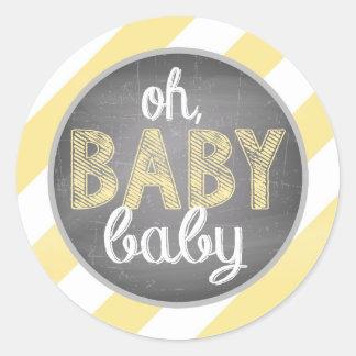 Yellow Diagonal Stripe Baby Shower Round Sticker